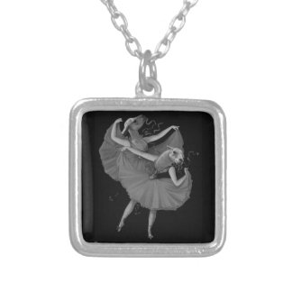 Llamas dancing silver plated necklace