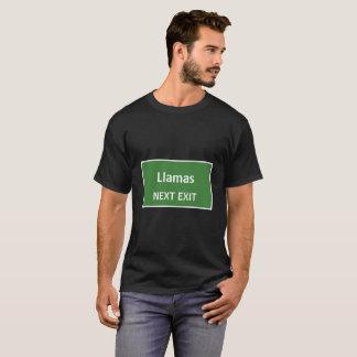 Llamas Next Exit Sign T-Shirt