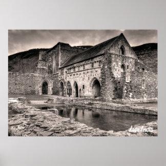 Llangollen Abbey (Black/White) Poster