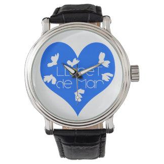 Lloret de mar heart Black Vintage Leather watch