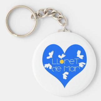 Lloret de Mar souvenir blue heart. Key Ring
