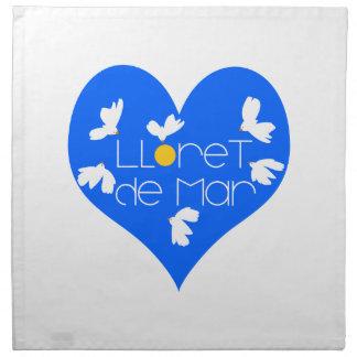 Lloret de Mar souvenir blue heart. Napkin
