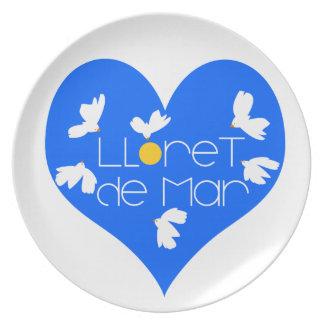 Lloret de Mar souvenir blue heart. Plate