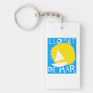 Lloret de Mar summer sun and sailboat key chain
