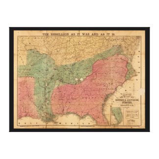 Lloyd's New Military Map Border & Southern States Stretched Canvas Prints