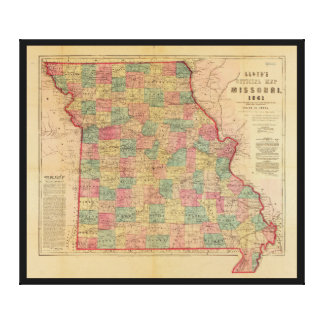 Lloyd's Offical Map of Missouri (1861) Canvas Print