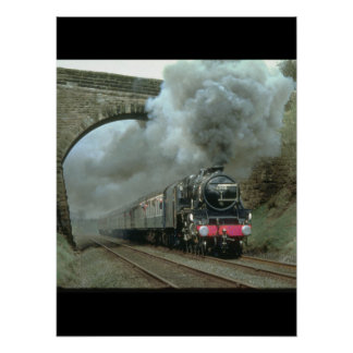 LMS Class 5 blasts along the Settle_Steam Trains Poster