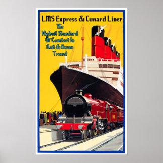 LMS Express & the Cunard Liner Poster