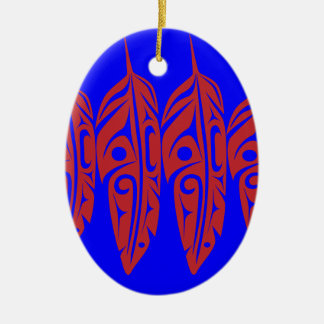 LNeel-Four-Feathers-Red-Blue Ceramic Ornament