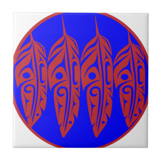LNeel-Four-Feathers-Red-Blue Ceramic Tile