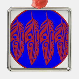 LNeel-Four-Feathers-Red-Blue Metal Ornament