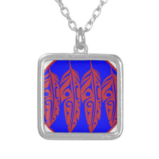 LNeel-Four-Feathers-Red-Blue Silver Plated Necklace