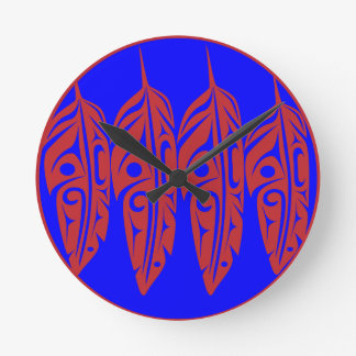 LNeel-Four-Feathers-Red-Blue Wall Clocks
