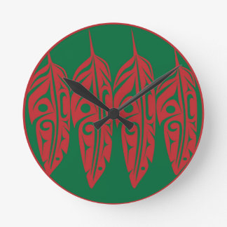 LNeel-Four-Feathers-Red-Green Round Clock