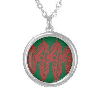 LNeel-Four-Feathers-Red-Green Silver Plated Necklace