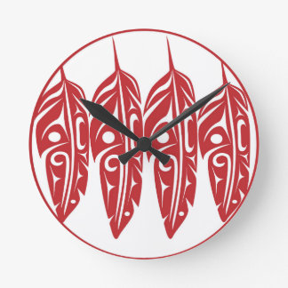 LNeel-Four-Feathers-Red-White Round Clock