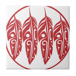 LNeel-Four-Feathers-Red-White Tile