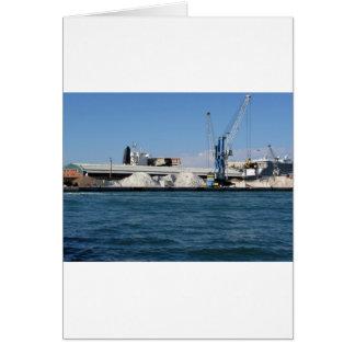 Loading cargo of raw materials from a port mooring greeting card