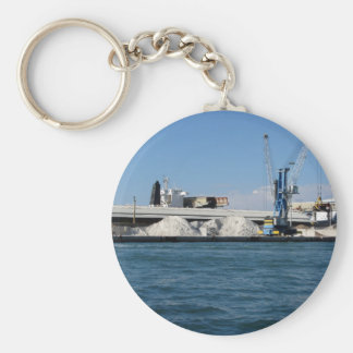 Loading cargo of raw materials from a port mooring basic round button keychain