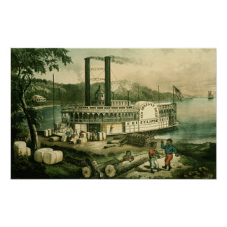 Loading Cotton on the Mississippi, 1870 Poster