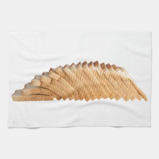 Loaf of sliced bread kitchen towels