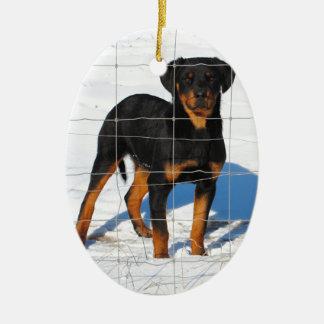 Lobo Rottweiler Ceramic Ornament