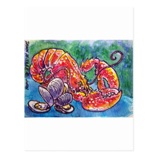 LOBSTER AND CLAMS POSTCARD