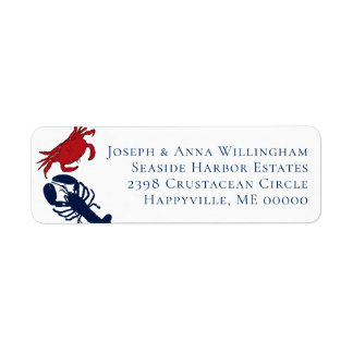 Lobster and Crab Address Label Four Lines