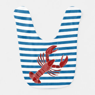 Lobster Blue and White Horizontal Stripe Bib