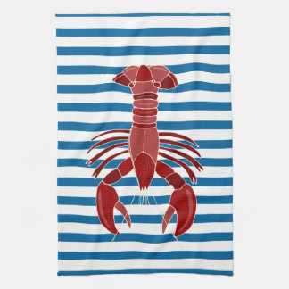 Lobster Blue and White Stripe Kitchen Towel