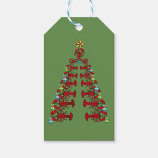 Lobster Christmas  tree cute party green gift tag