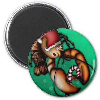 Lobster Claus, magnet round Fridge Magnets