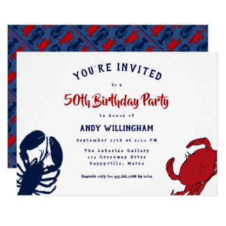 Lobster Crab His Birthday Seafood Party Invitation