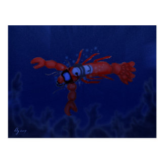 Lobster Diving Postcard