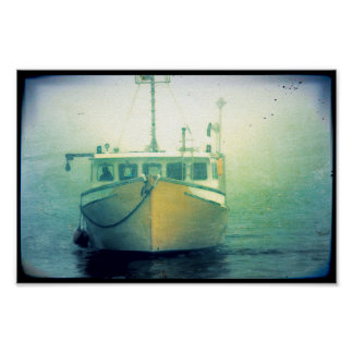 Lobster Fishing Boat Maine Nautical Poster