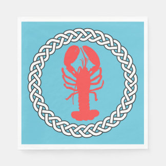 Lobster In A Rope Border Paper Napkin