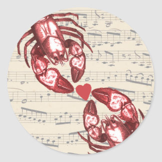 Lobster Love Musical notes with heart Round Sticker