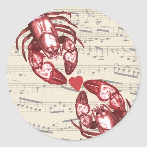 Lobster Love Musical notes with heart Sticker