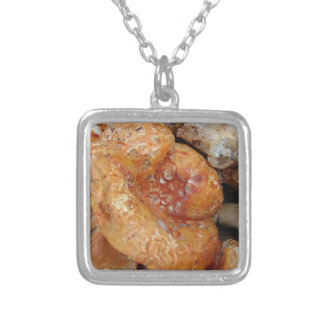 Lobster Mushrooms Silver Plated Necklace
