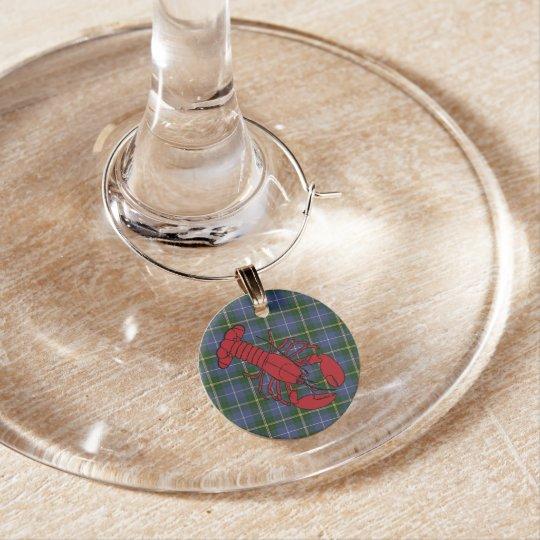 Lobster Nova Scotia Tartan Wine Charms