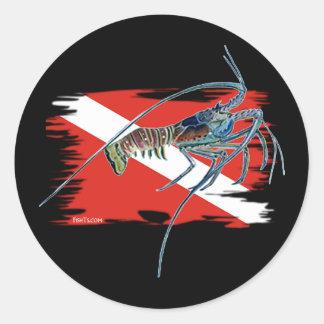 lobster on shredded flag round sticker