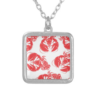 lobster print silver plated necklace