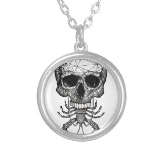 Lobster Skull Silver Plated Necklace