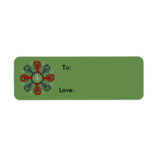 Lobster Snowflake Anchor N.S. Christmas gift tag