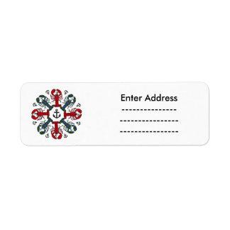 Lobster Snowflake Anchor N.S. Christmas label Return Address Label