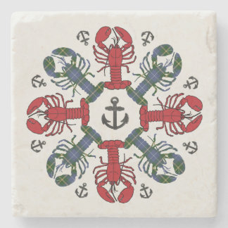 Lobster Snowflake Anchor N.S. Christmas marble Stone Coaster