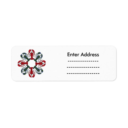 Lobster Snowflake N.S. Tartan Christmas label Return Address Label