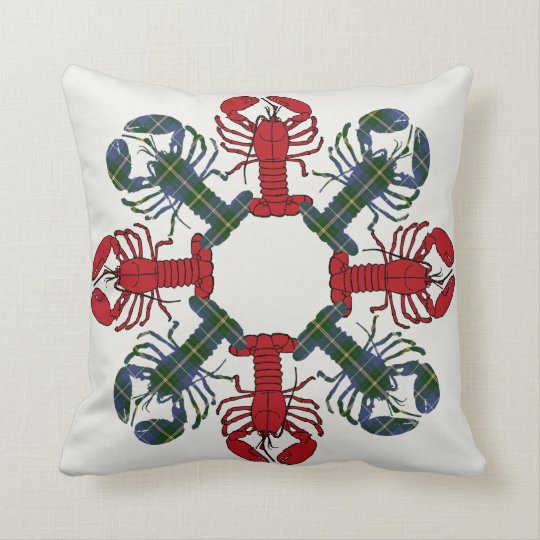 Lobster Snowflake N.S. Tartan Christmas pillow