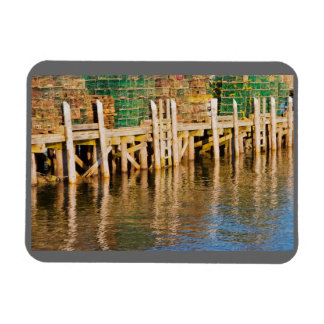 Lobster Traps stacked On Pier On Coast Of Maine Vinyl Magnet
