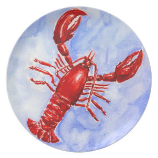 Lobster Watercolor Plate